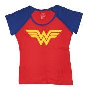 Camiseta Raglan Feminina Wonder Woman Costume Logo