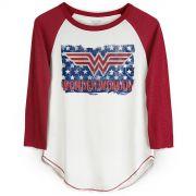 Camiseta Manga Longa Feminina Wonder Woman Flag