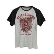 Camiseta Raglan Masculina Alice Cooper Raise The Dead