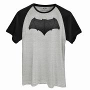 Camiseta Raglan Masculina Batman Vs Superman Logo Batman
