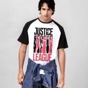 Camiseta Raglan Masculina Liga da Justiça Flags