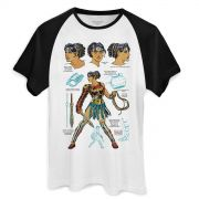 Camiseta Raglan Masculina Wonder Woman Fierce