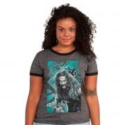 Camiseta Ringer Feminina Liga da Justiça Aquaman