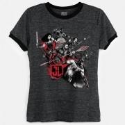 Camiseta Ringer Feminina Liga da Justiça Let´s Fight