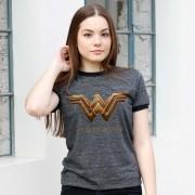 Camiseta Ringer Feminina Mulher Maravilha Logo Filme