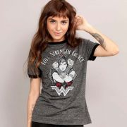 Camiseta Ringer Feminina Wonder Woman Love Strength Grace