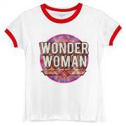 Camiseta Ringer Feminina Wonder Woman Vintage