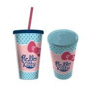 Copo com Tampa e Canudo Hello Kitty Pois Azul