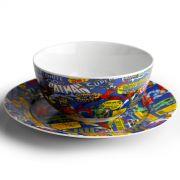 Jogo de Café da Manhã 3 Peças DC Comics Super Heroes