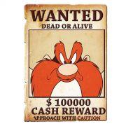 Placa de Parede Looney Tunes Eufrazino Procurado