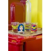 Set 4 Copos para Dose Wonder Woman Face Logo Name