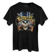 T-Shirt Feminina Guns N´ Roses Logo Skull