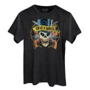 T-Shirt Feminina Guns N Roses Logo Skull Mescla