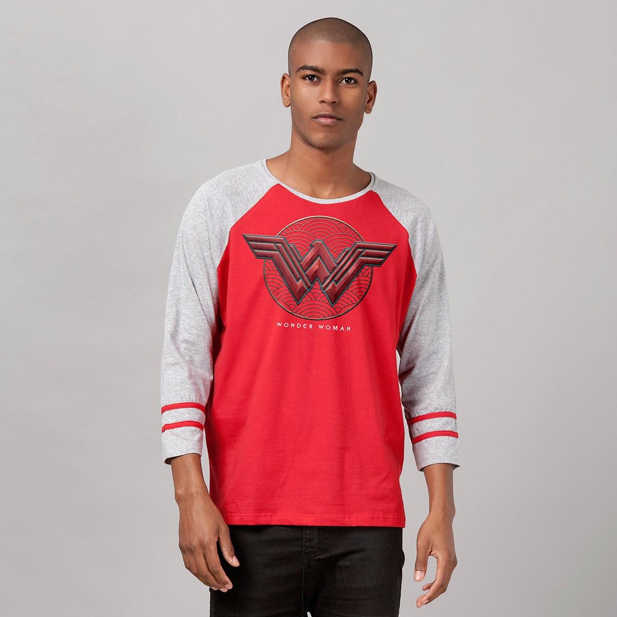 Blusa Raglan Masculina Wonder Woman Logo Authentic