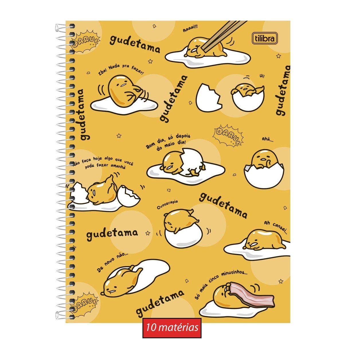 Caderno Gudetama Só mais 5 minutos 10 Matérias