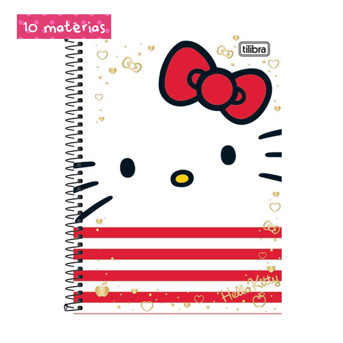 Caderno Hello Kitty Face  10 Matérias