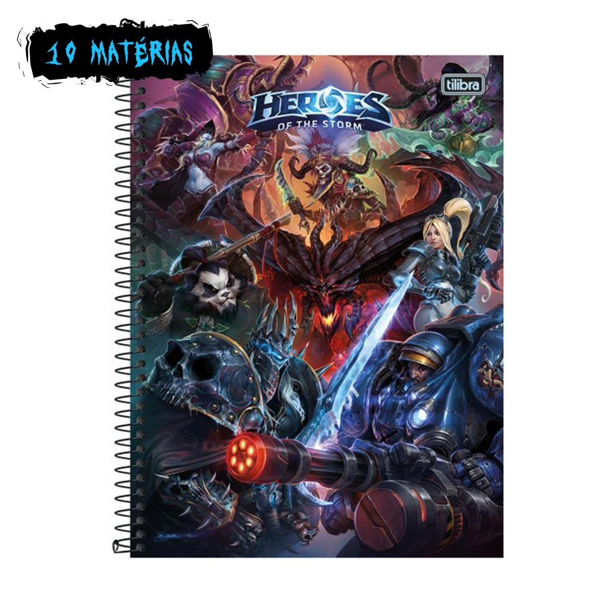 Caderno Heroes Of The Storm Logo 10 Matérias