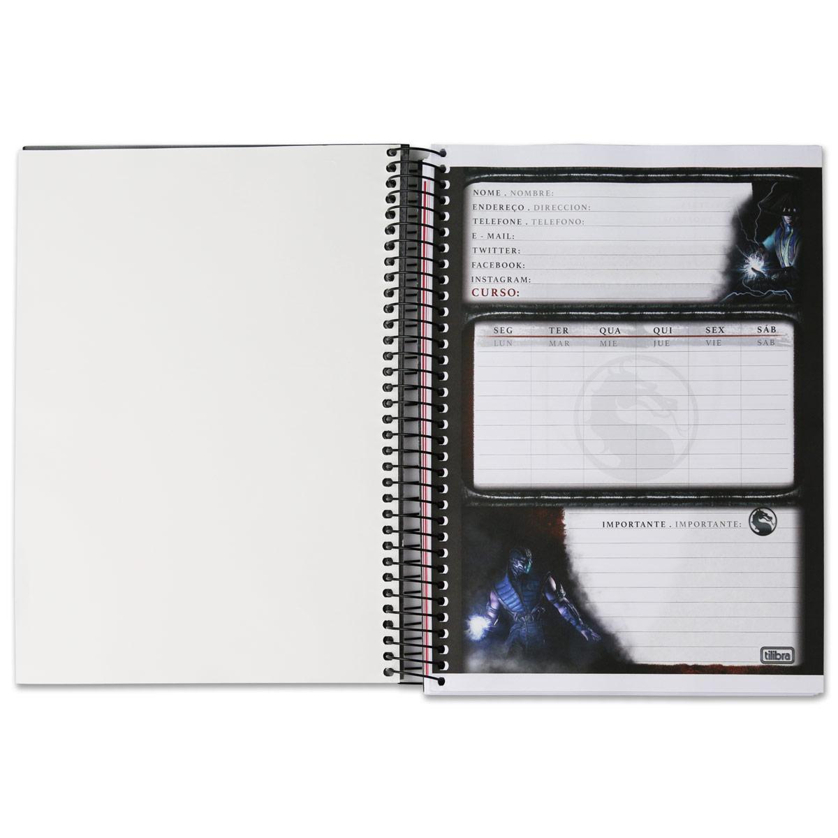 Caderno Mortal Kombat X Scorpion 10 Matérias