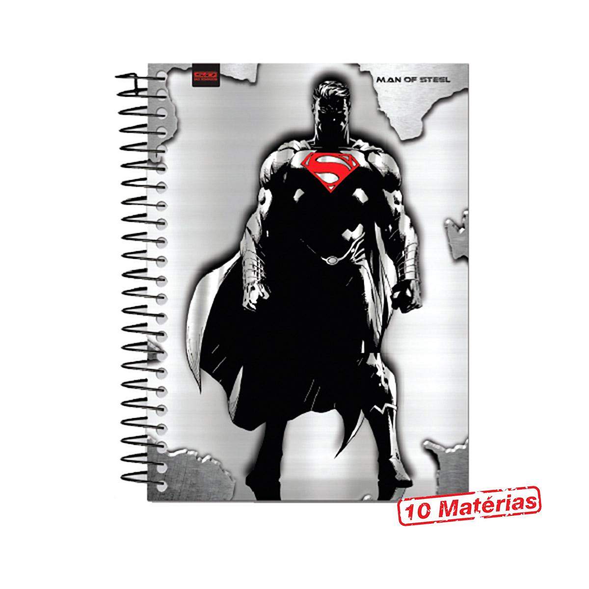 Caderno Superman Man of Steel Gray 10 Matérias