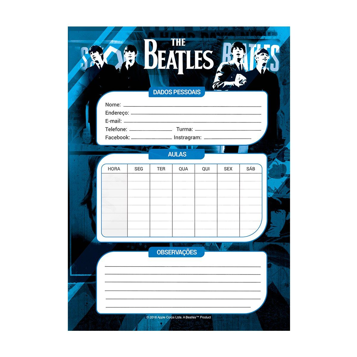 Caderno The Beatles Black 10 Matérias