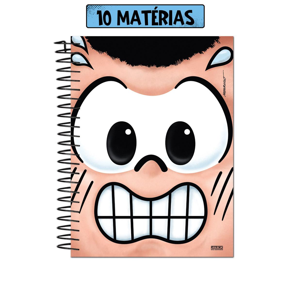 Caderno Turma da Mônica Big Face Cascão 10 Matérias