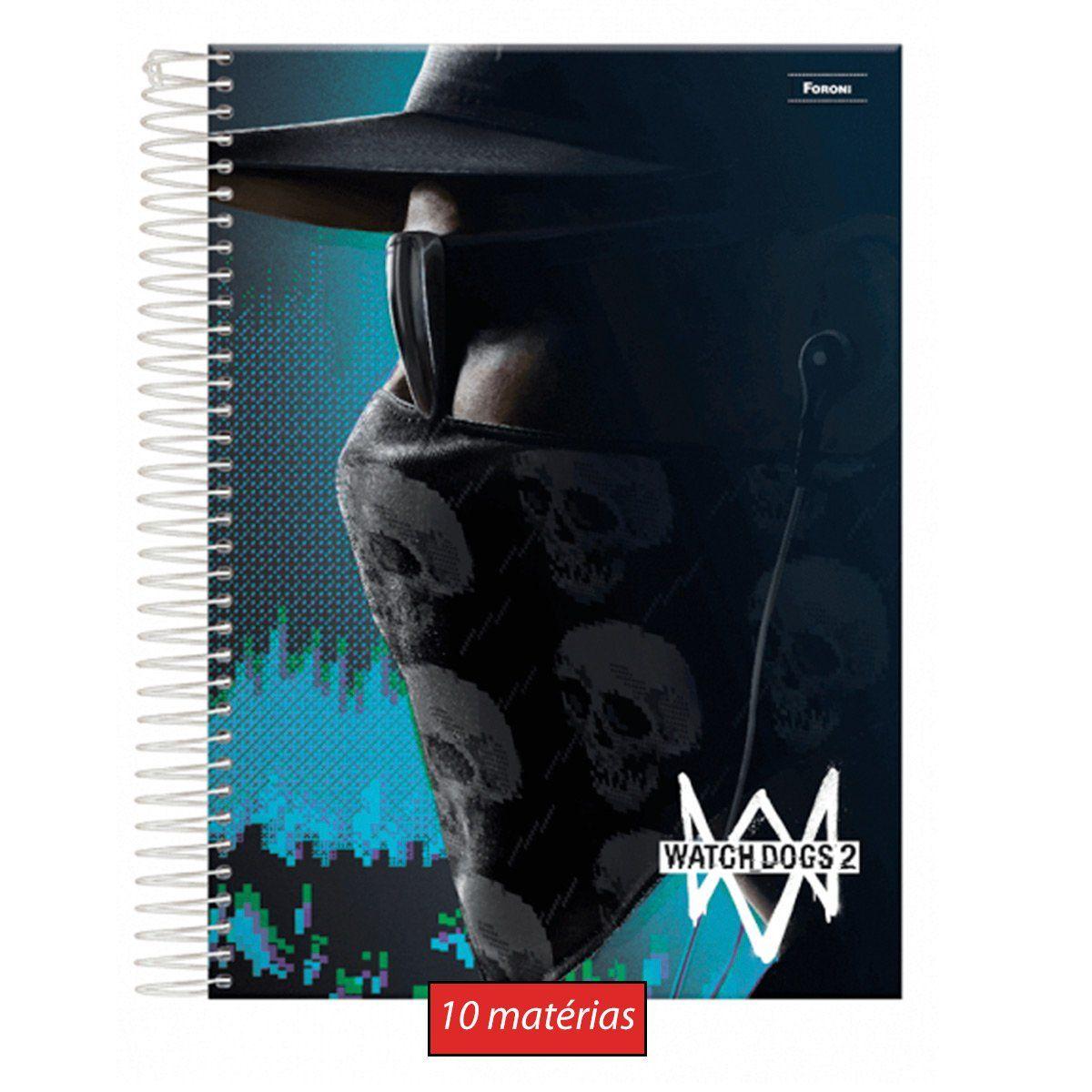 Caderno Watch Dogs 2 Mask 10 matérias