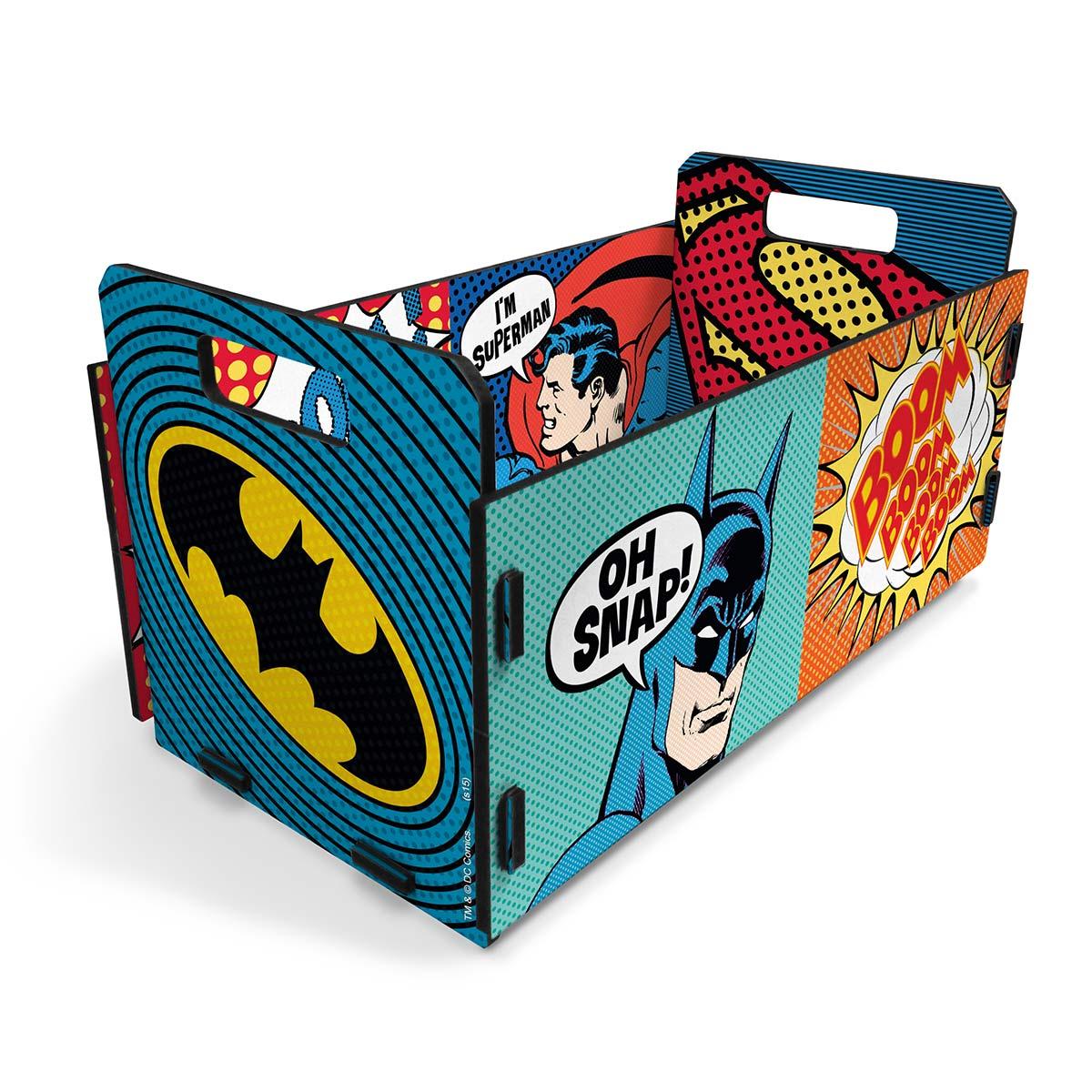 Caixote Organizador Batman e Superman Pop