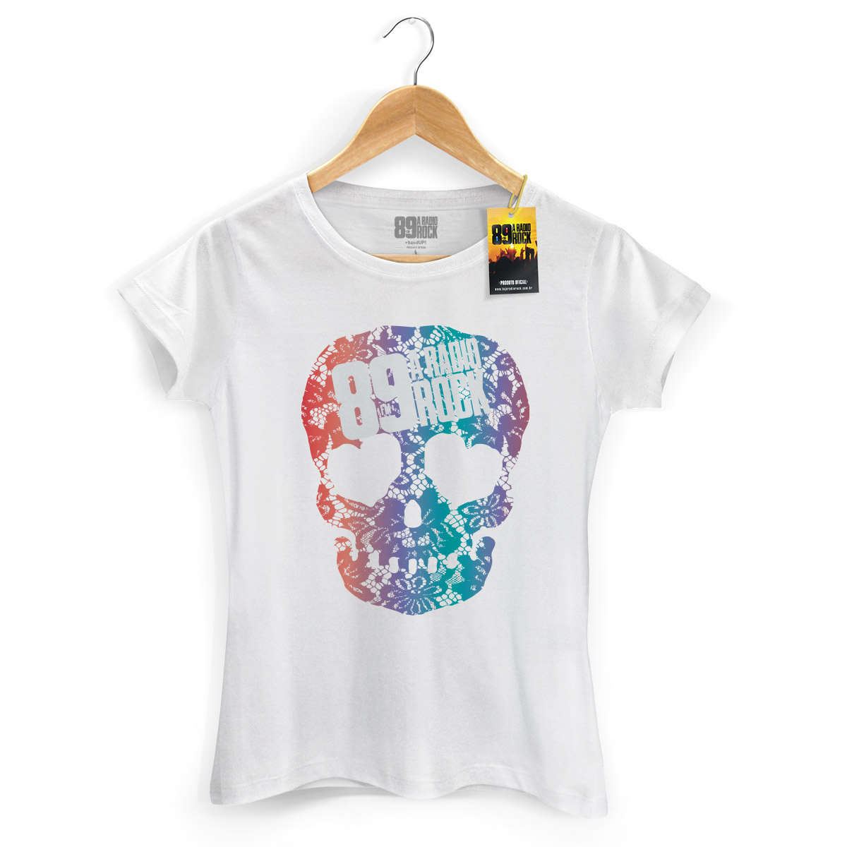 Camiseta Feminina 89 FM Skull Colors