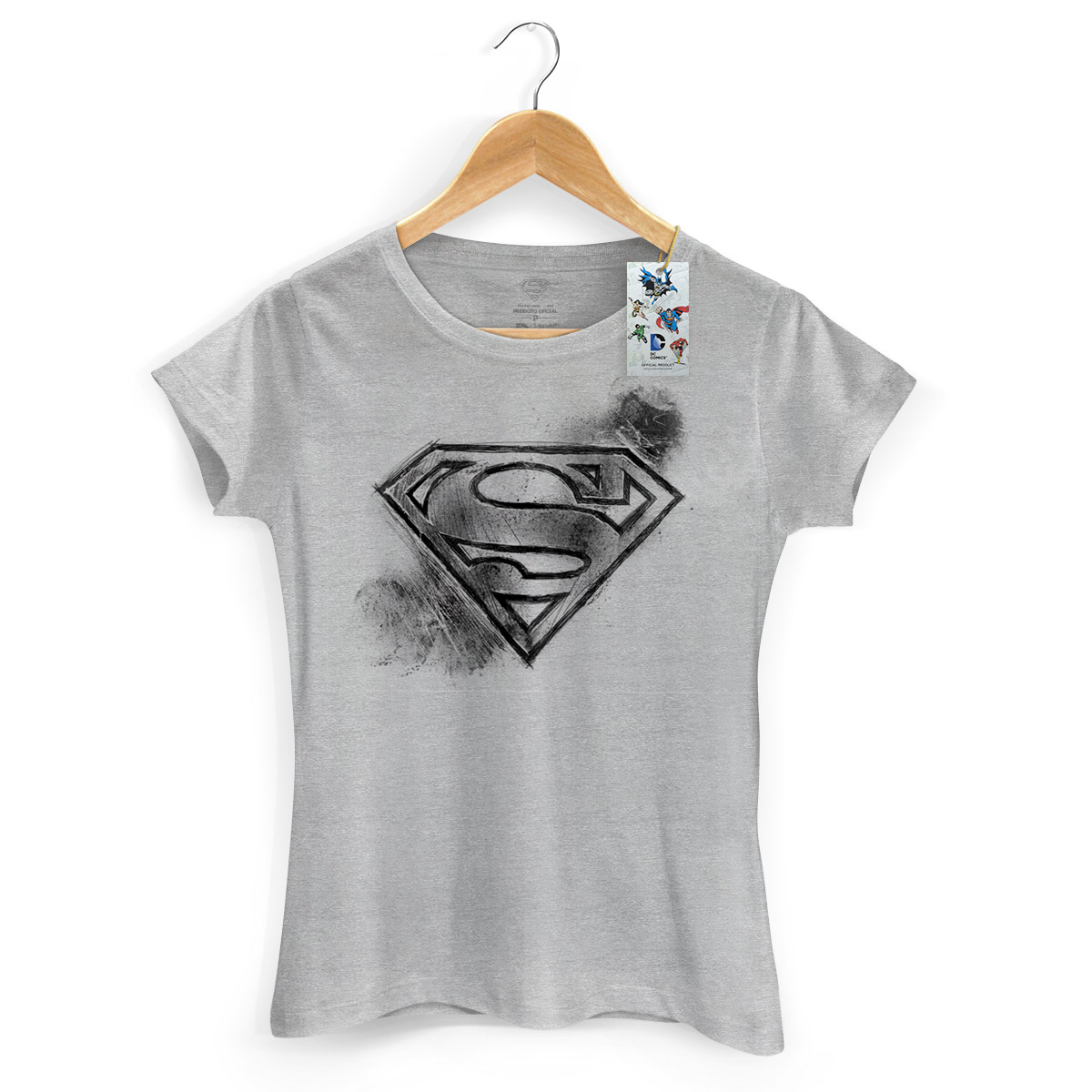 Camiseta Feminina Superman Logo Tracing