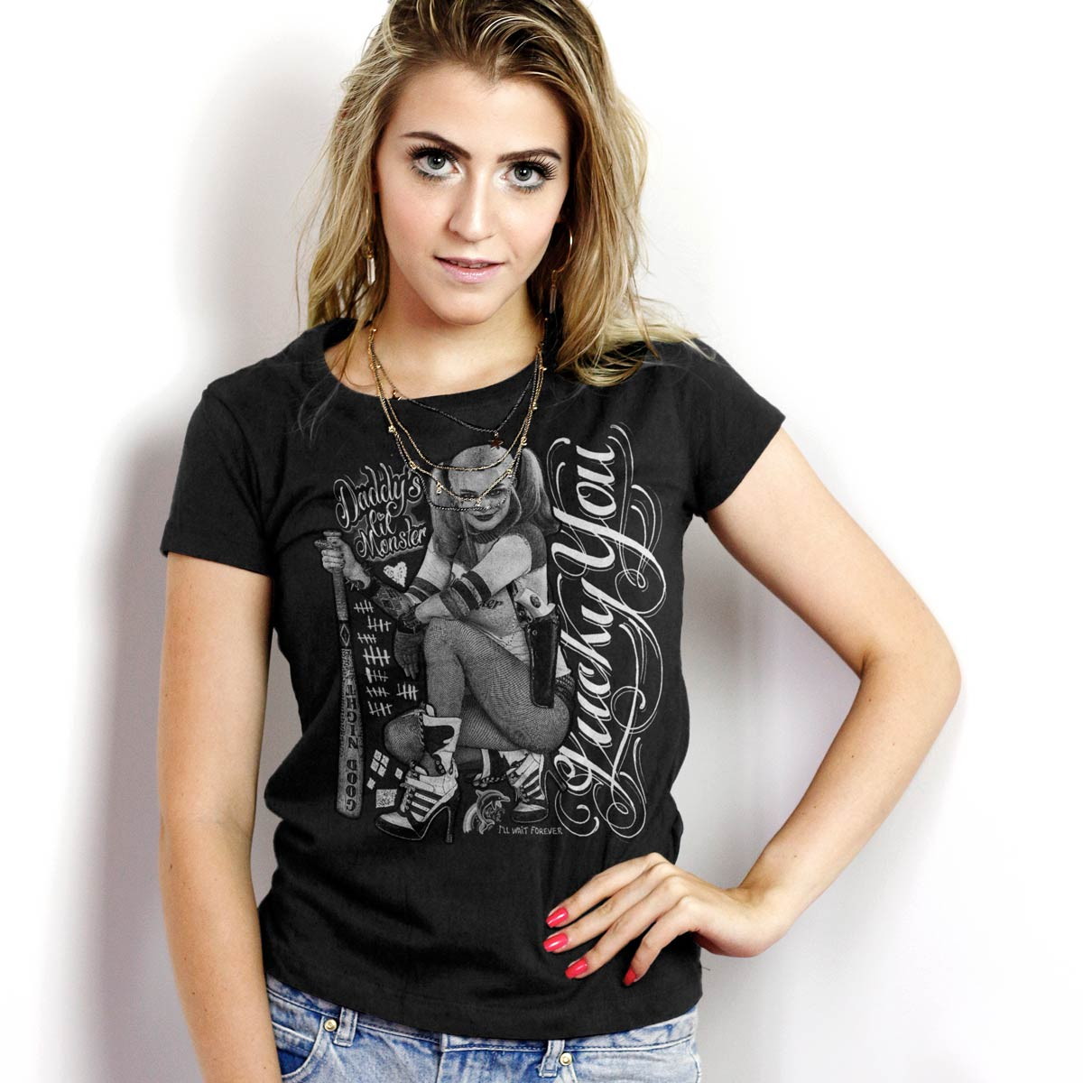 Camiseta Feminina Esquadrão Suicida Harley Quinn Luck You