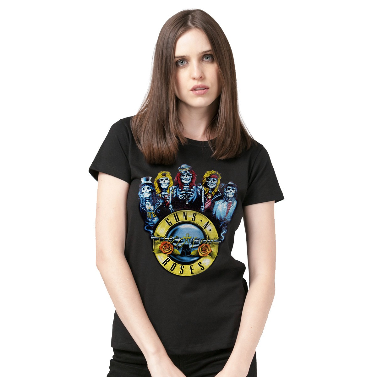 Camiseta Feminina Guns N´ Roses Skull Band