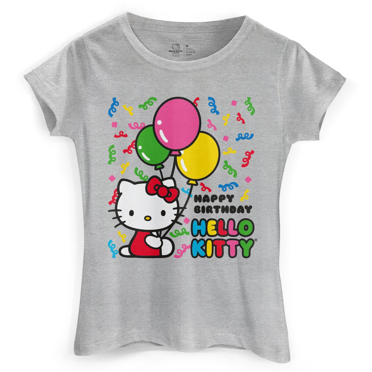 Camiseta Feminina Hello Kitty Birthday Ballons