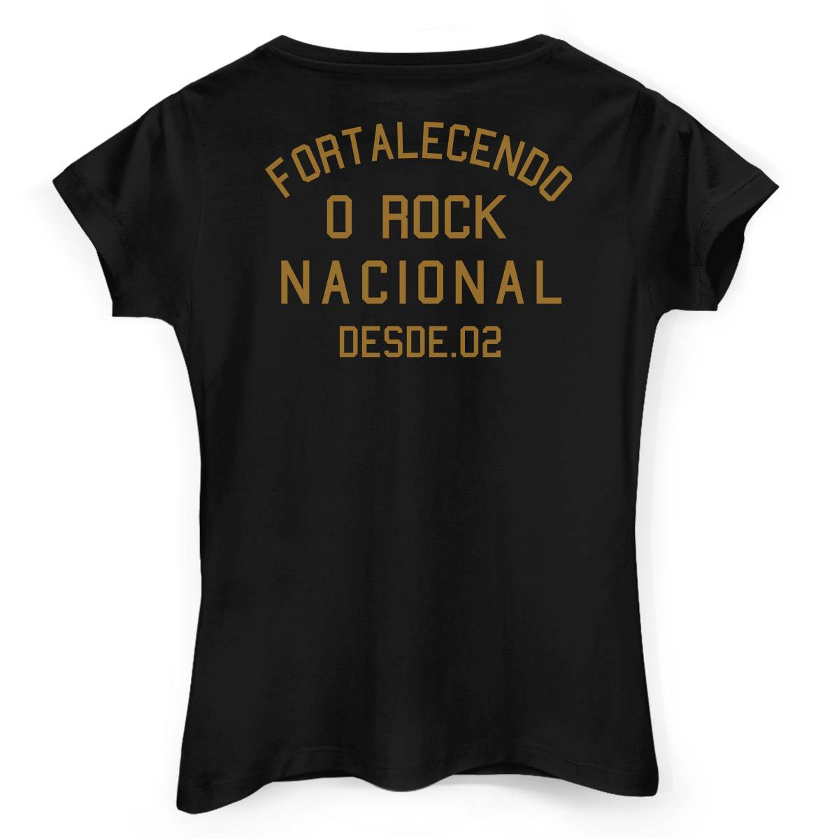 Camiseta Feminina João Rock Fortalecendo o Rock Nacional Desde 02