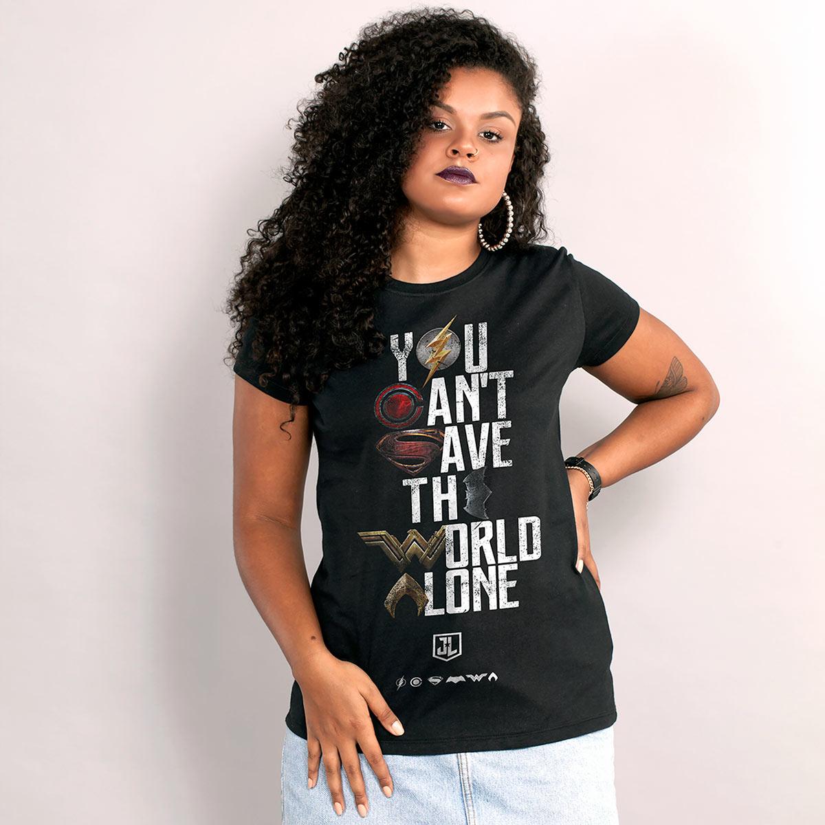 Camiseta Feminina Liga da Justiça You Can't Save Color