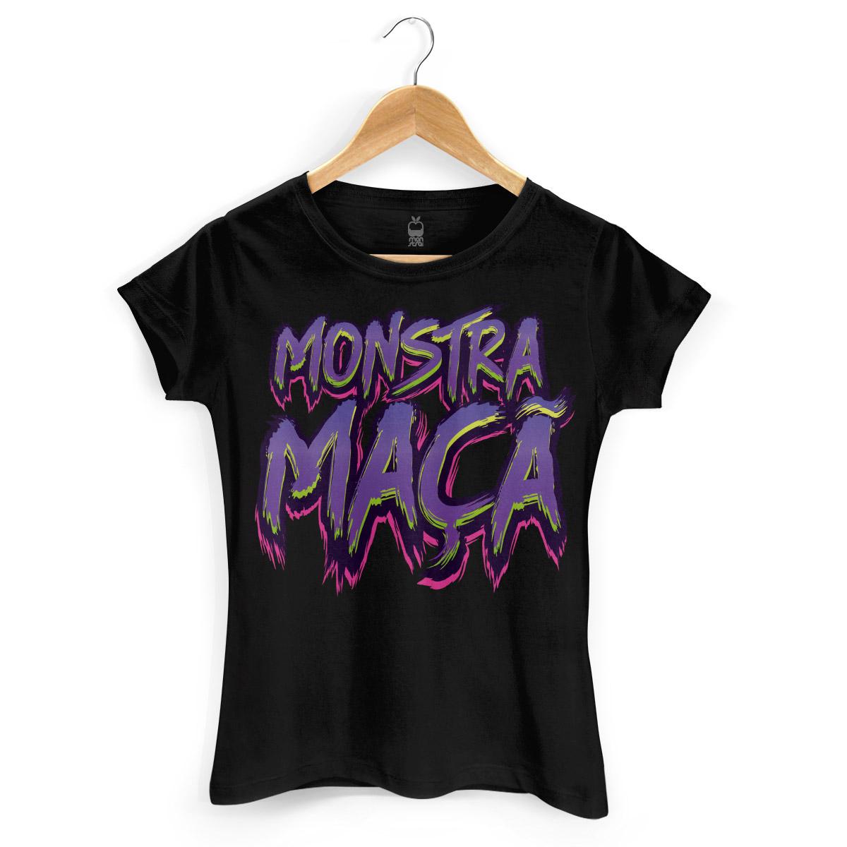 Camiseta Feminina Monstra Maçã Logo Slime