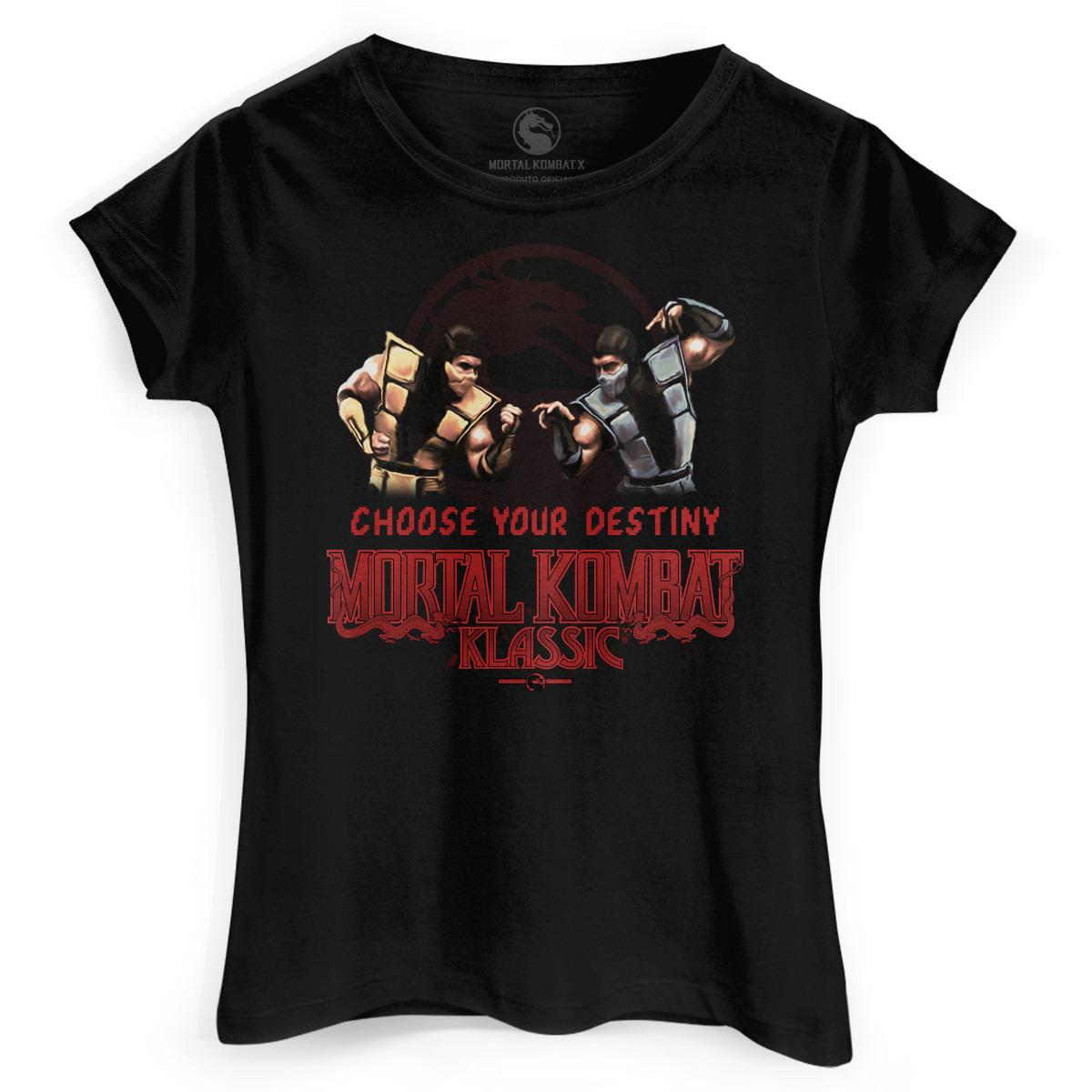 Camiseta Feminina Mortal Kombat Choose Your Destiny
