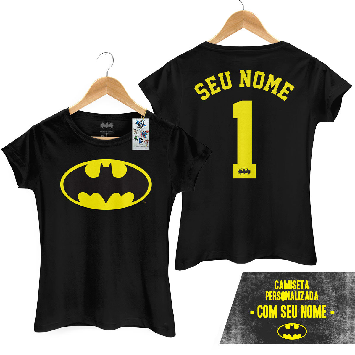 Camiseta Feminina Batman Logo Name