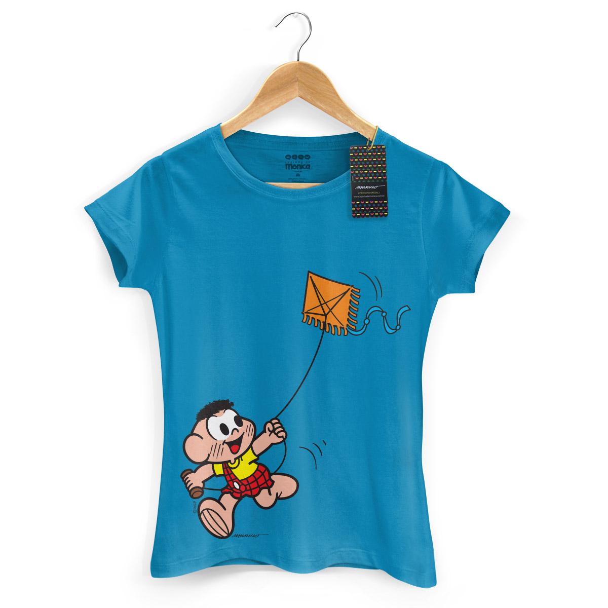 Camiseta Feminina Turma da Mônica Kids Cascão Soltando Pipa