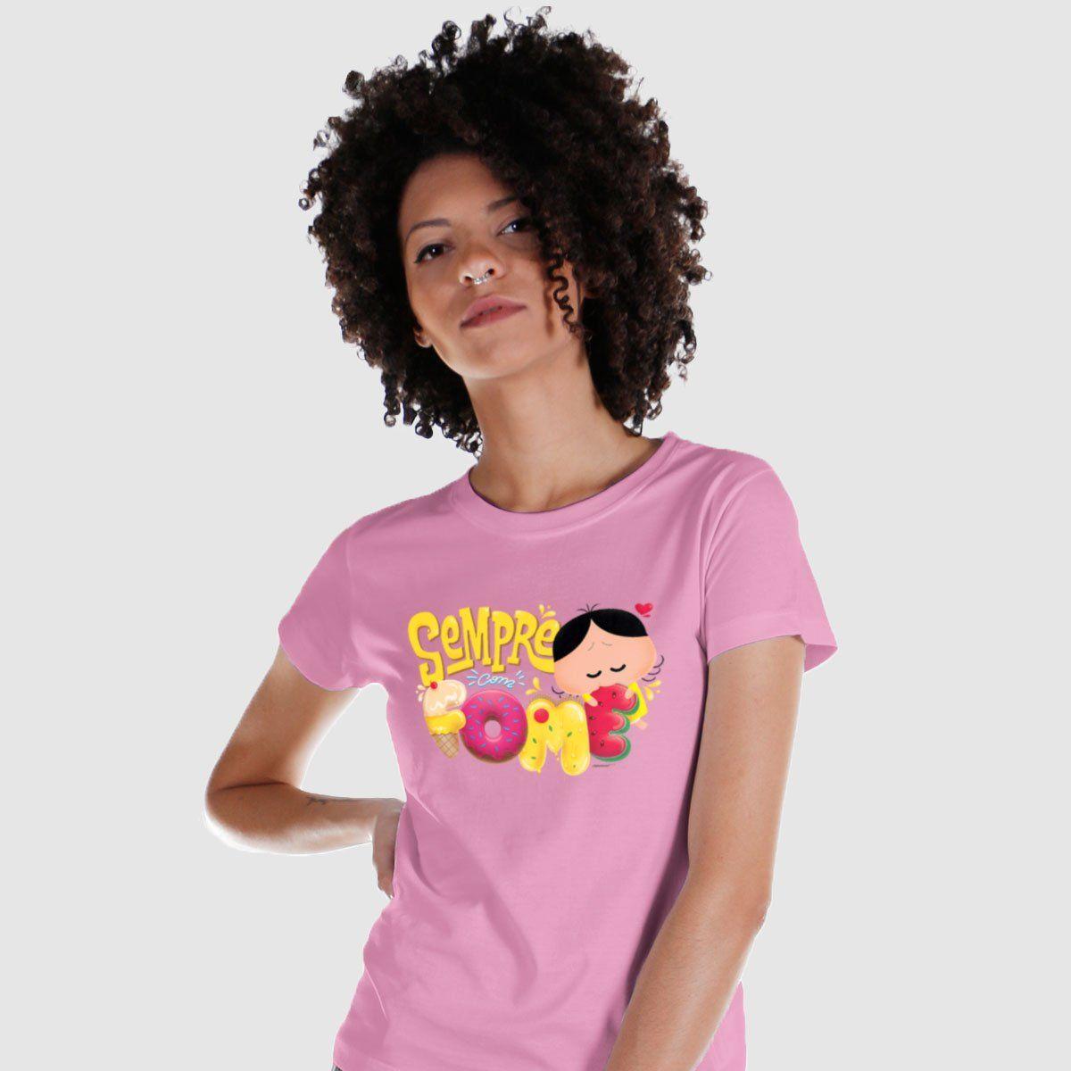 Camiseta Feminina Turma da Mônica Magali Sempre Com Fome