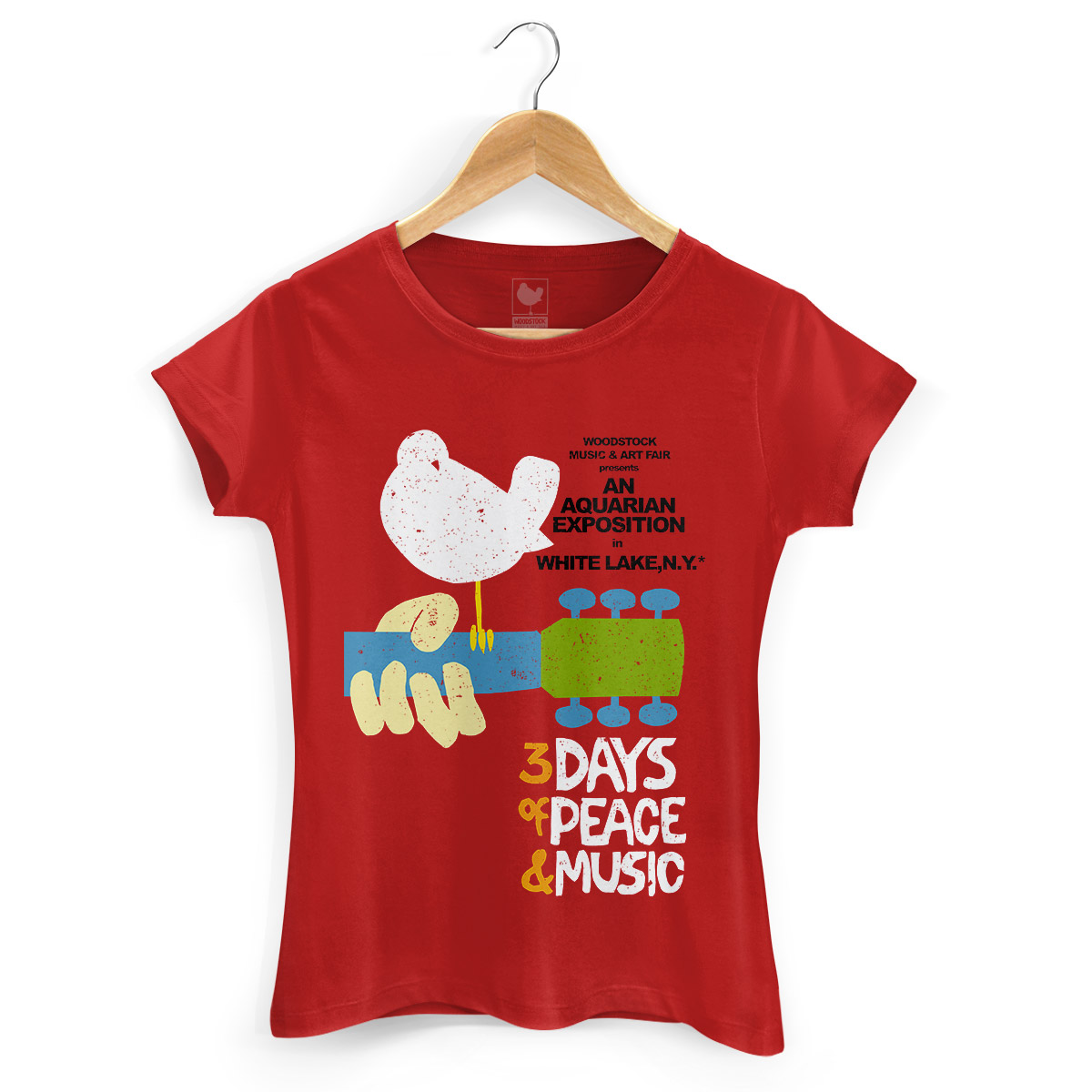 Camiseta Feminina Vermelha Woodstock Poster