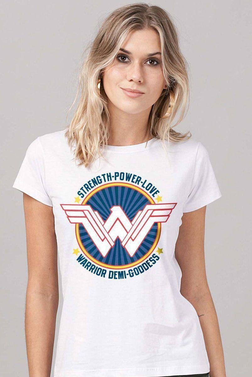 Camiseta Feminina Wonder Woman Warrior Demi Goddess