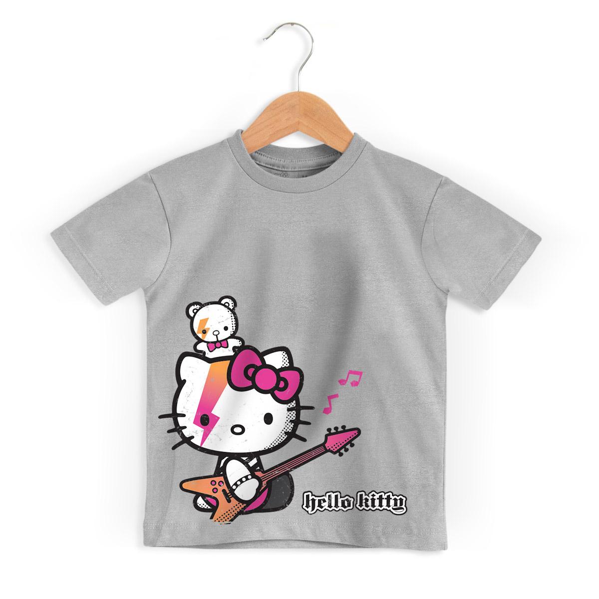 Camiseta Infantil Hello Kitty Teddy Rock