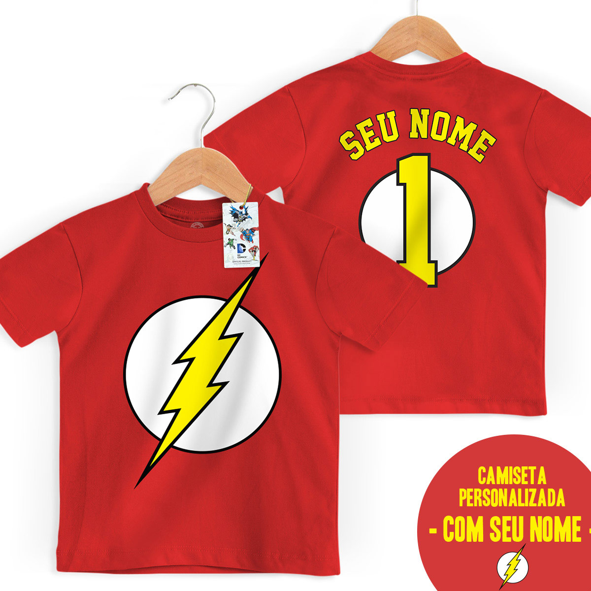 Camiseta Infantil The Flash Logo Name