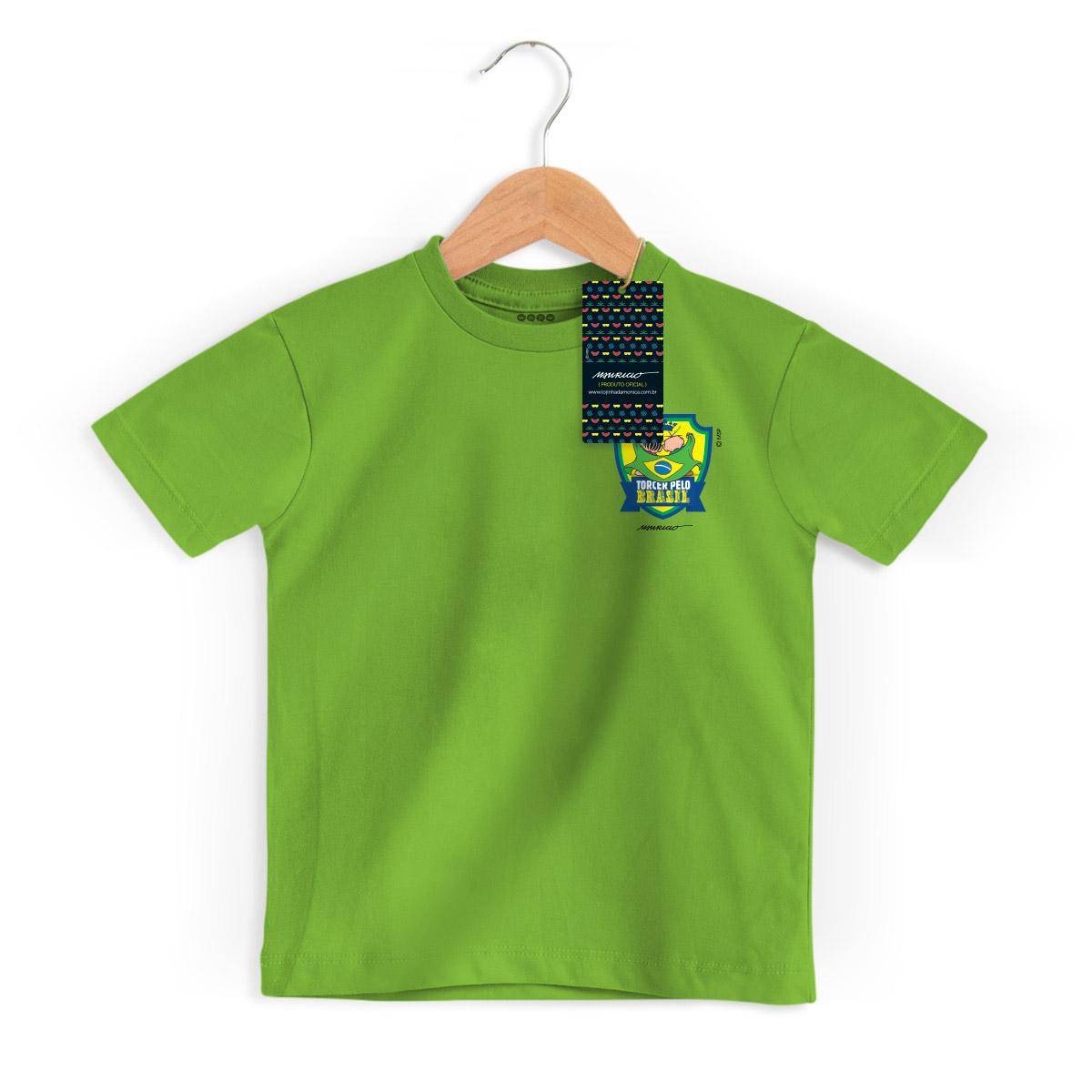Camiseta Infantil Turma da Mônica Brasão Mônica e Cebolinha
