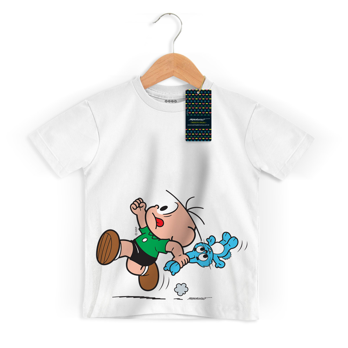 Camiseta Infantil Turma da Mônica Kids Cebolinha Fugindo