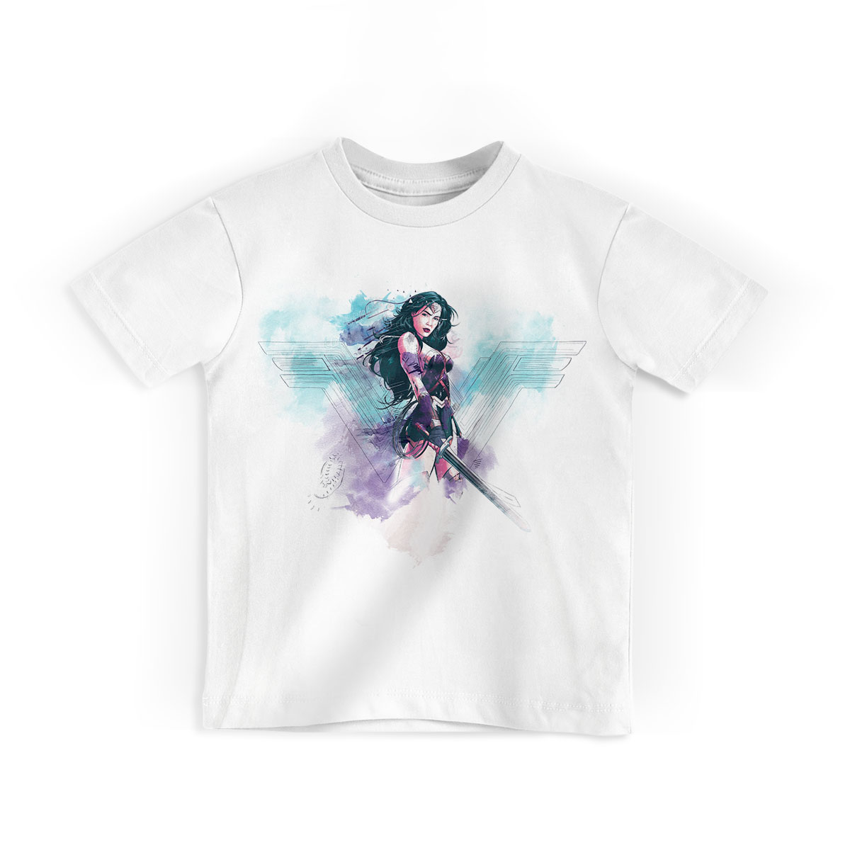 Camiseta Infantil Wonder Woman Watercolor