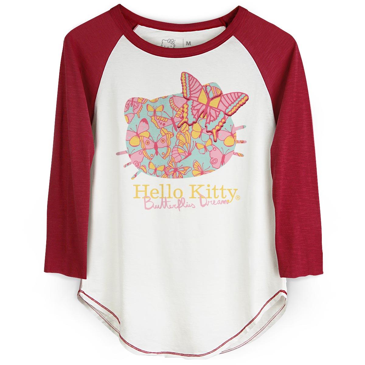 Camiseta Manga Longa Feminina Hello Kitty Butterflies Dream Face