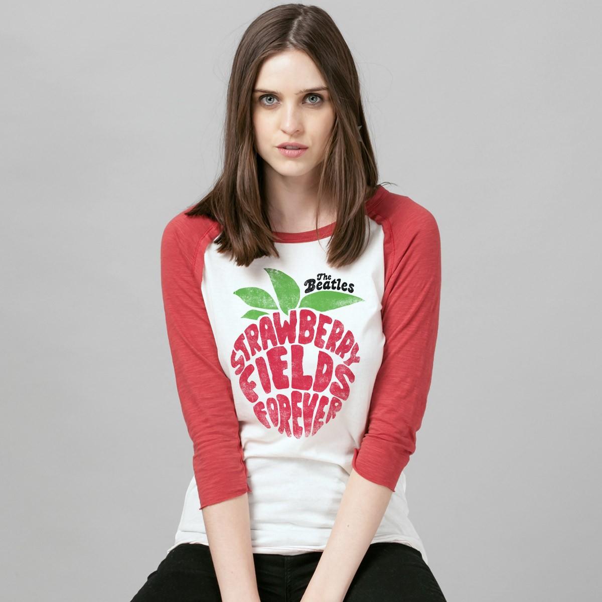 Camiseta Manga Longa Feminina The Beatles Strawberry Fields Forever