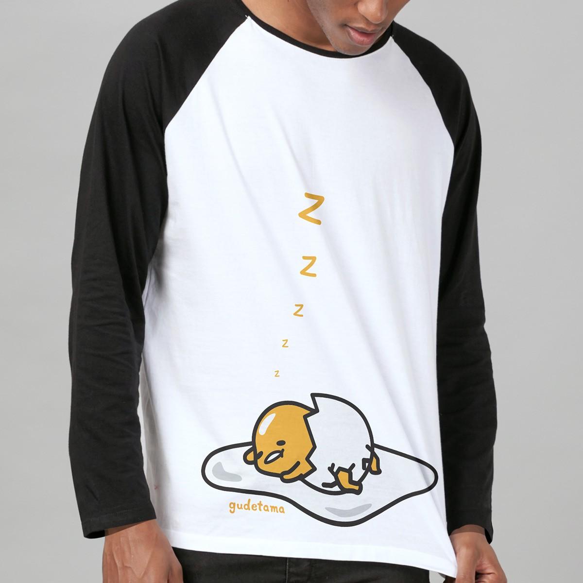 Camiseta Manga Longa Raglan Masculina Gudetama Cochila