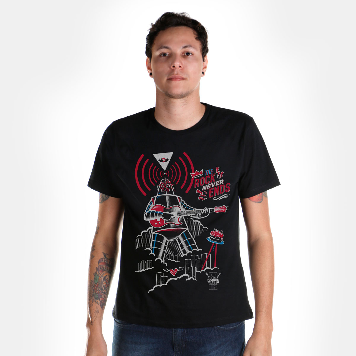 Camiseta Masculina 89FM A Radio Rock 30 Anos Robô